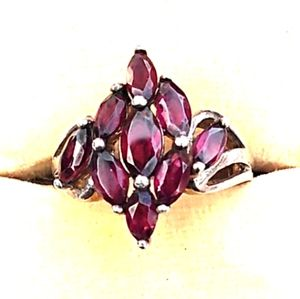 Rare Sterling Silver Red Amethyst Cluster Ring VTG